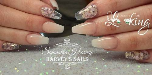 French Ombre with glitter glass accent fingers
