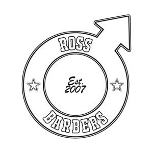 Logo ross barbers inverse transparent