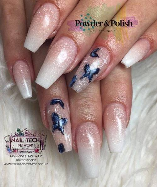 Ombré full set with 2 extra hand painted nail art