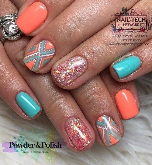 Gel mani with 2 hand painted nails