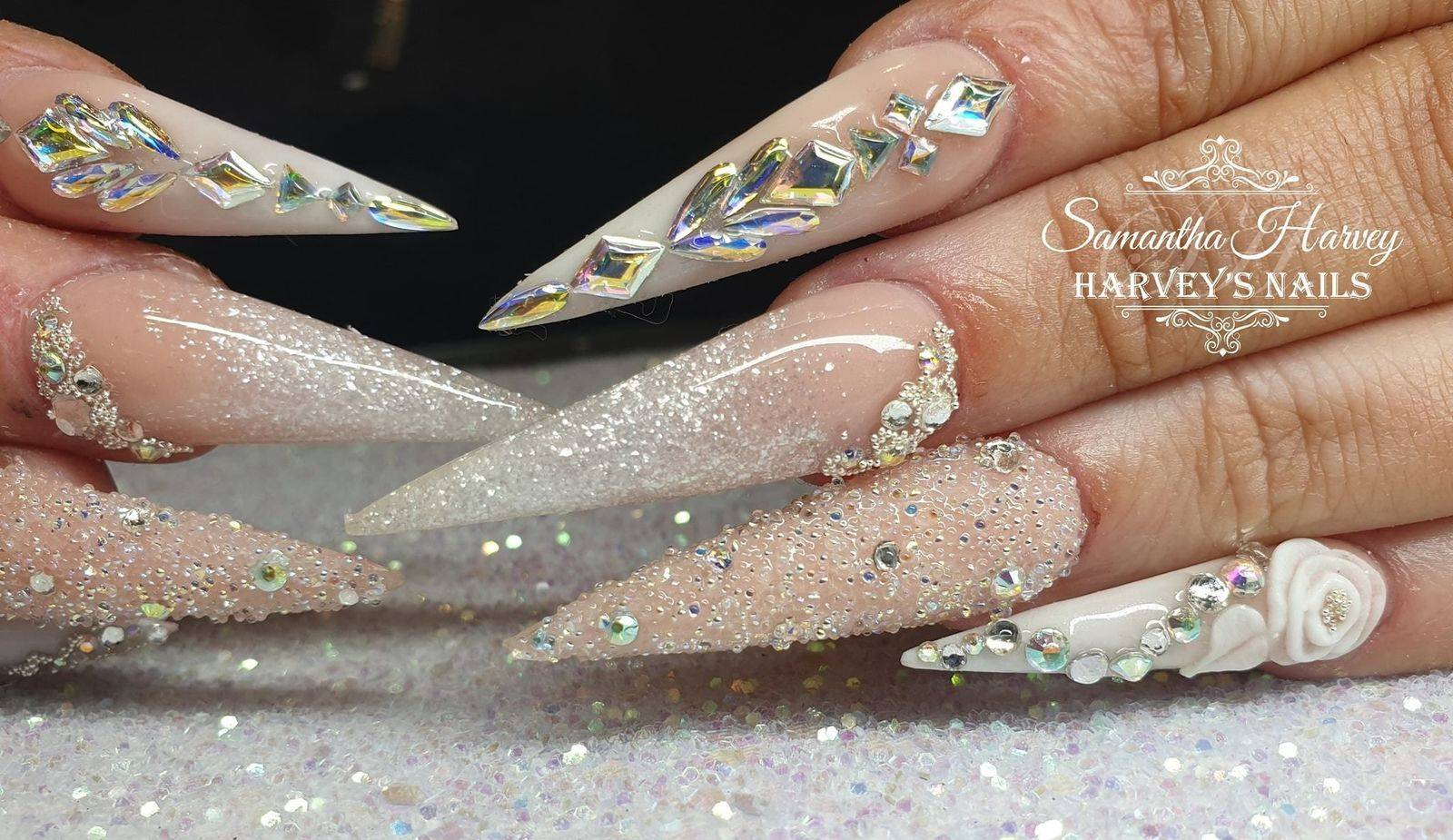 Acrylic design Stiletto nail with 3D flowers, Swarovski crystals etc