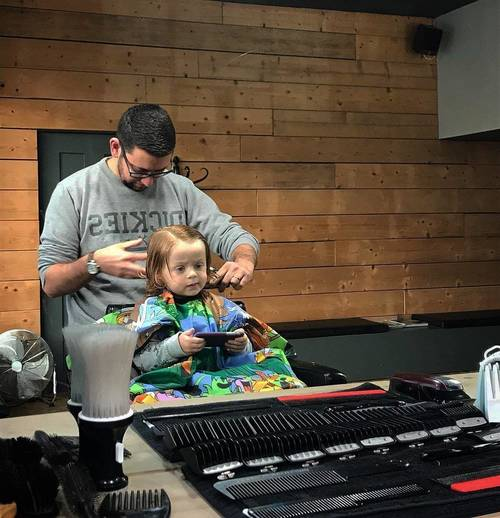 Father & Son bonding time! 🤴  Both shops open 9-6! ✂️