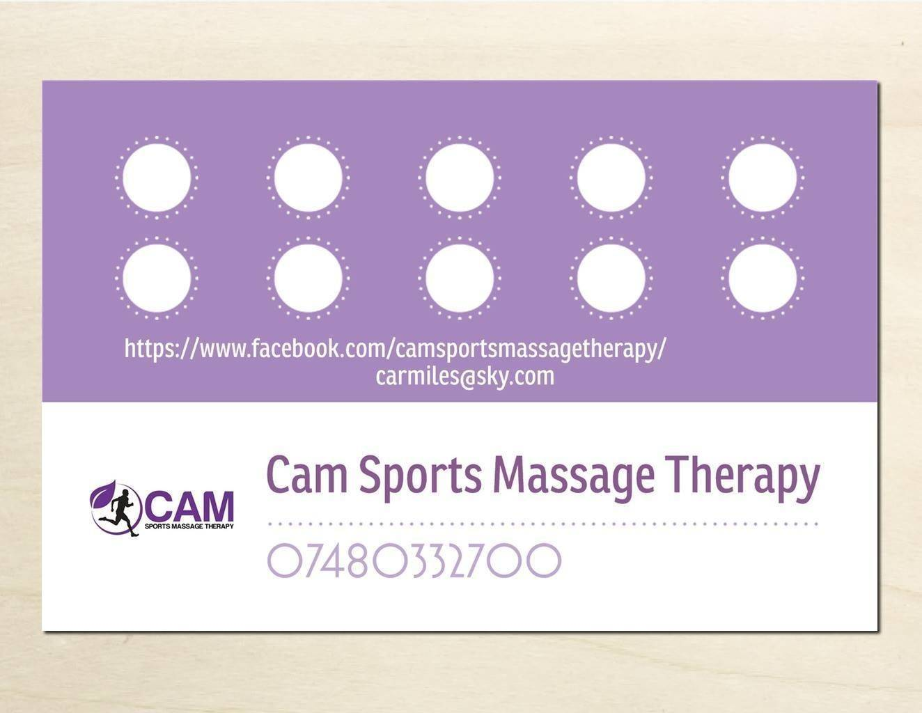 Loyalty cards on the way fill the card of 10 and get a free massage