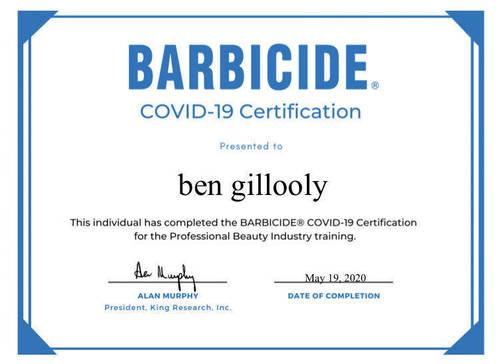 Barbicide Covid -19 certificate (Buxton barber )