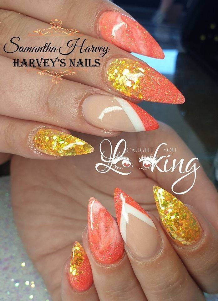 Harvey\u0027s Nails , Acrylic design with colour blocking, marble