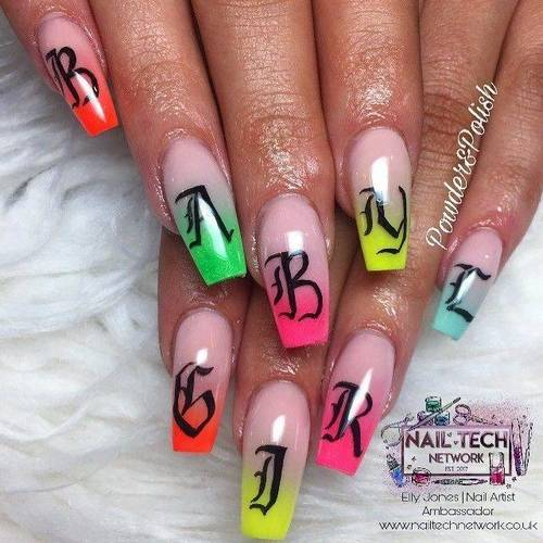 Ombré set with extra hand painted nail art