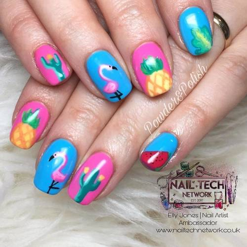 All hand painted summer nails