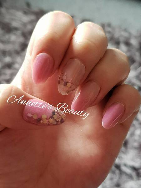 Encapsulated glitters, Coloured acrylic and ombre acrylic......pretty 'blossom' pink