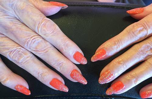 I love doing Betty's nails, she hasn't lost her love for bright funky colours and bling and she's well into her eighties!