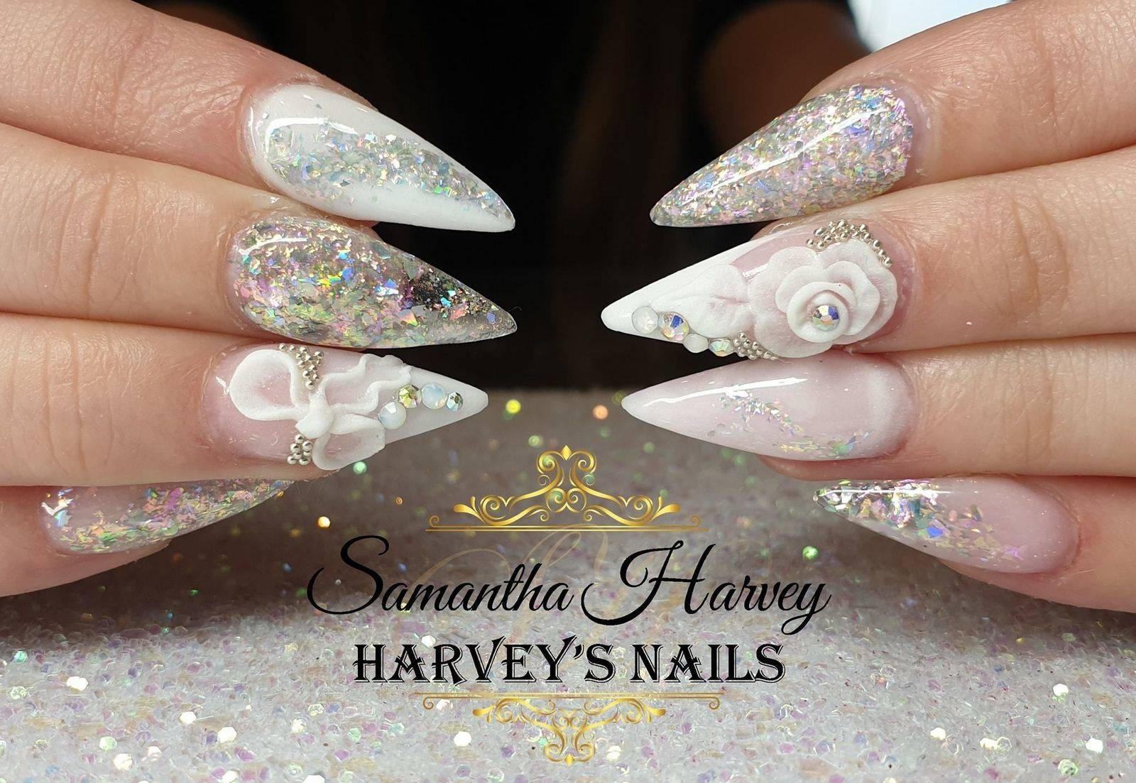 Full Acrylic design with flakes, 3D acrylic art and Swarovski crystals
