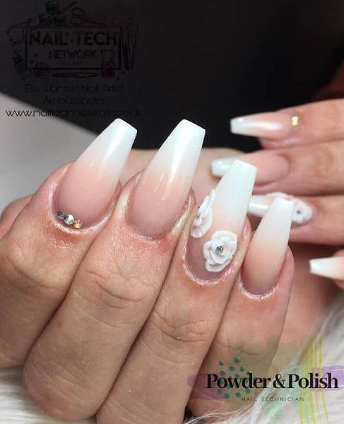 Ombré full set with extra nail art and swarvoski