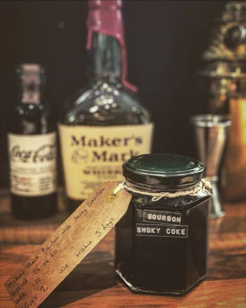Makers Mark Bourbon with smoky Coke (serves 2)