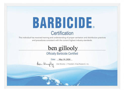 Barbicide certificate (Buxton Barber)