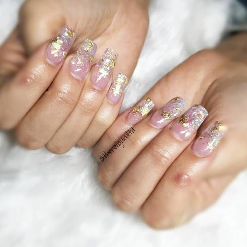 Just had to share these again  #nailtechlife #nailtechnician #colchesternailextensions #glitternails #goldleaf #acrylicnails #acrylic #appointmentsavailable #contactusnow #essexnails