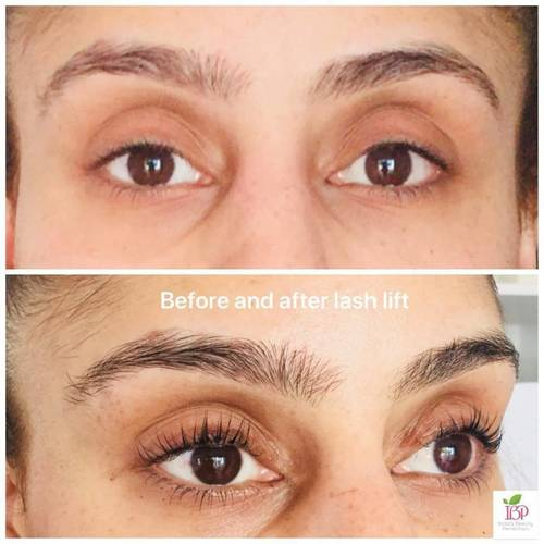 Before and after lash-lift and tint