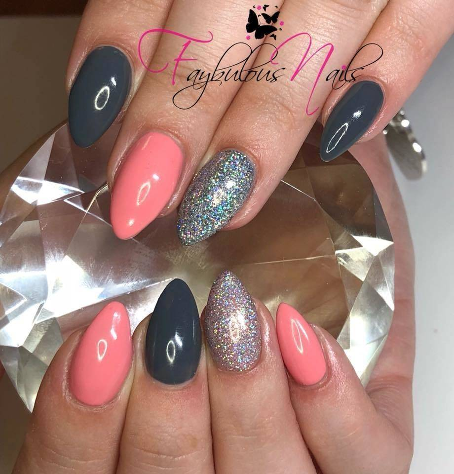 Faybulous Nails - Acrylic Infill ❤ Grey and pink mix n match ❤️