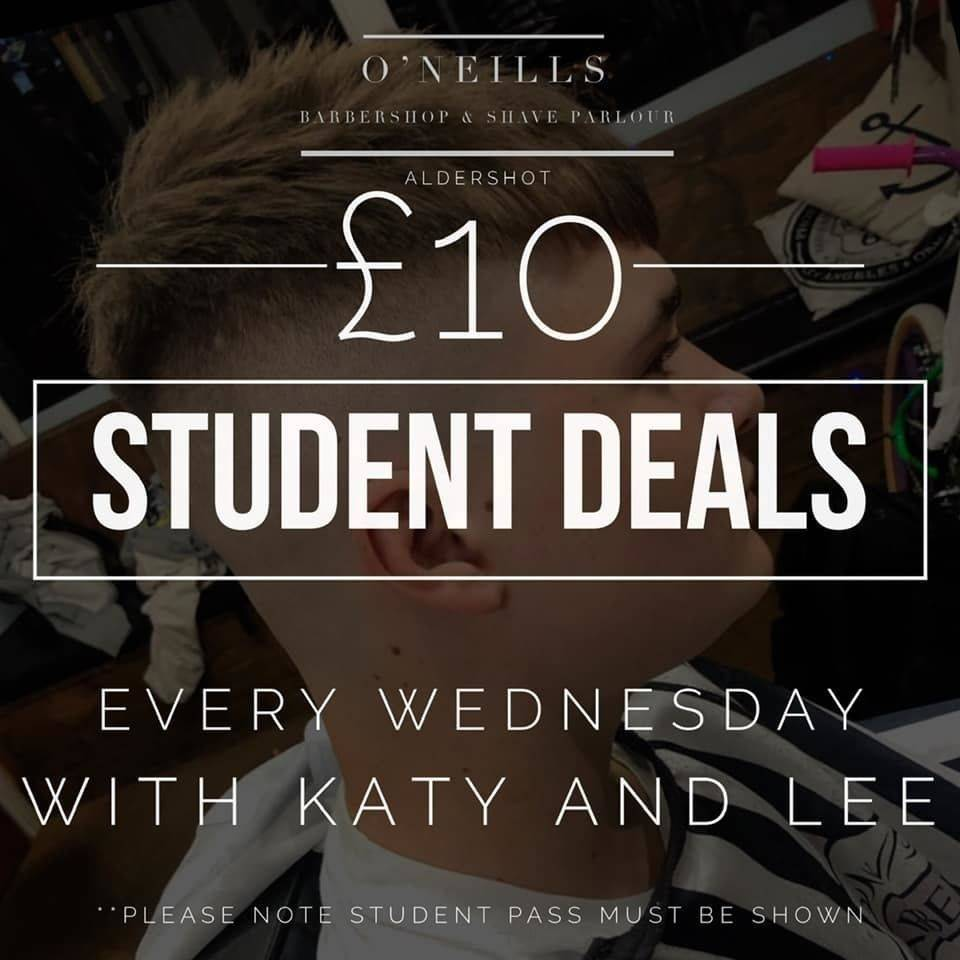 Today is student day we are open until 6pm  £10 student deals all day with Katy and Lee  Millie is in and looking for models   Appointments are available with Glenn today