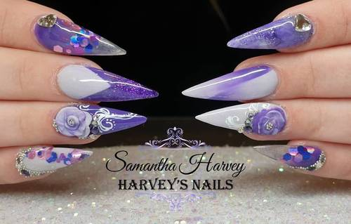 Acrylic design Stiletto nail with x cross Ombre, 3D flower and hand painted swirl etc