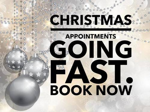 We are filling up quickly for Christmas! Get your appointments booked before the big rush! We also offer Christmas gift vouchers. Cards accepted too x