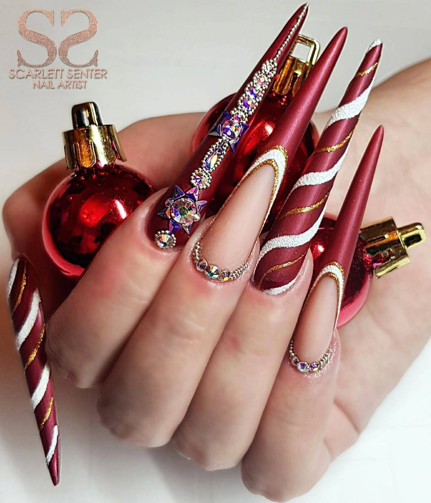 Christmas Nails Gel.Scarlett Senter Nail Artist Stiletto Christmas Nails Bling