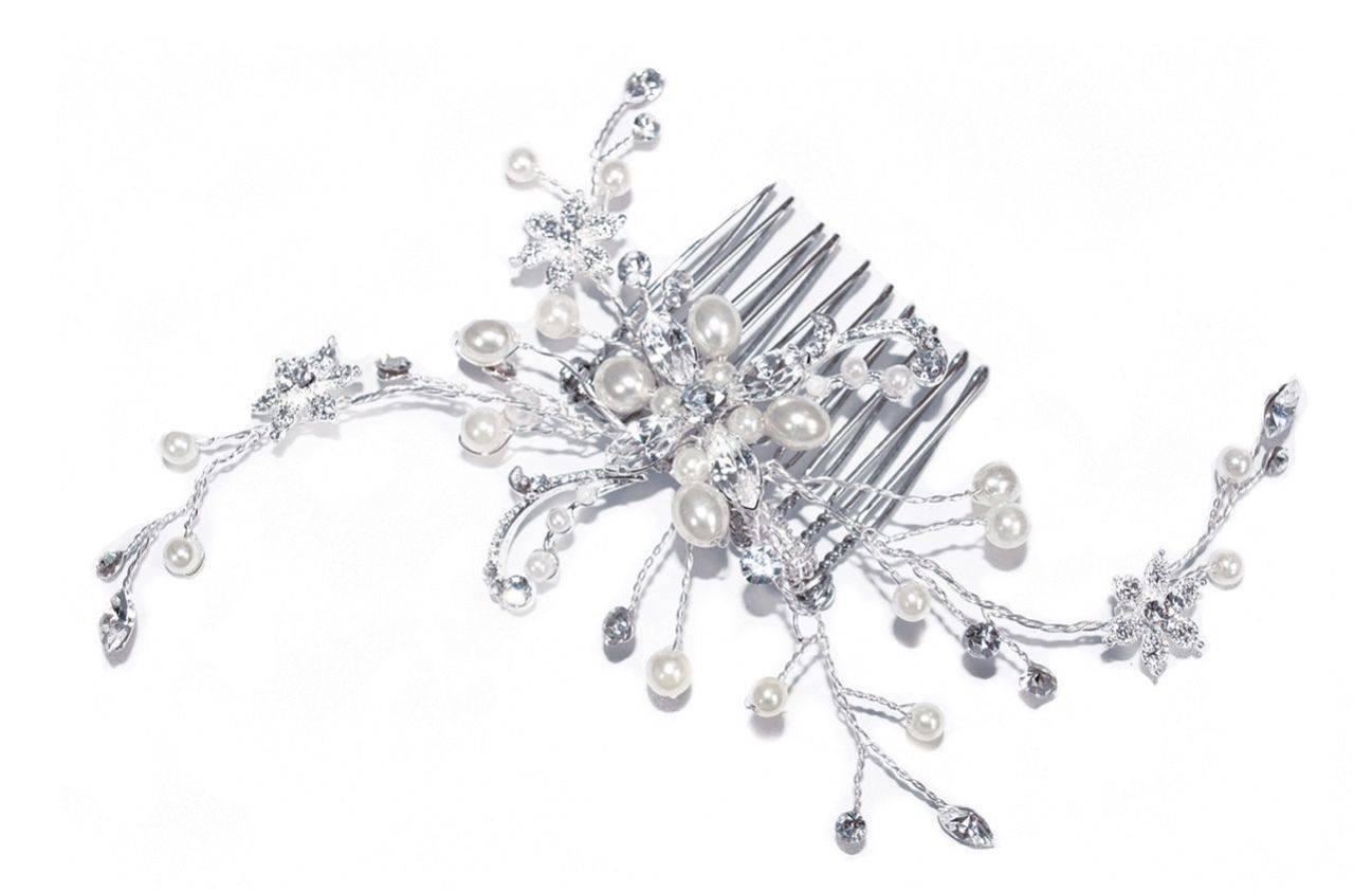Silver Pearl Spray Comb