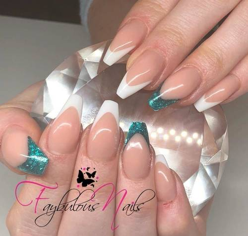 Acrylic infill and redesign  Fresh clean French with empress emerald
