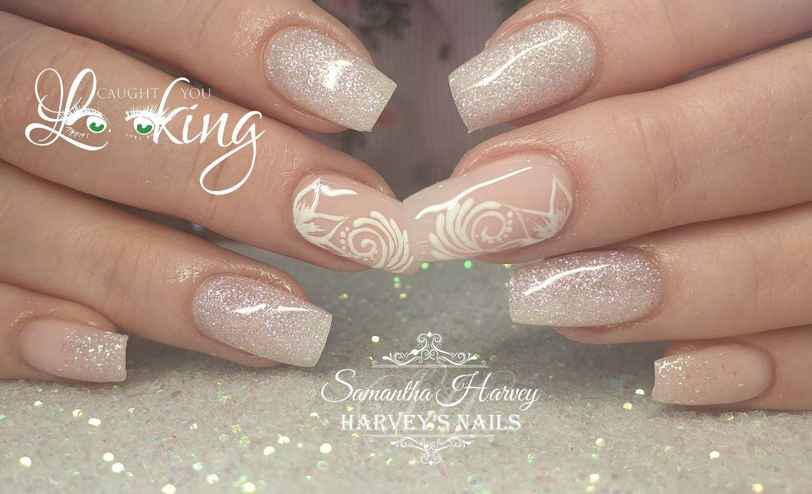 Elegant Acrylic design with hand painted swirls