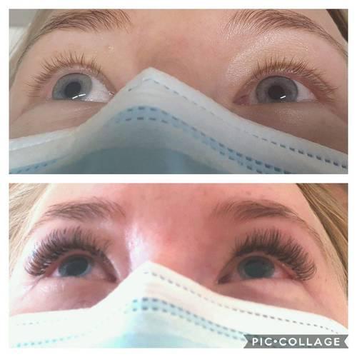 Full Set of Classic EyeLash Extensions using a Hybrid lash for a full dense look. The Beauty Box, Duston, Northampton