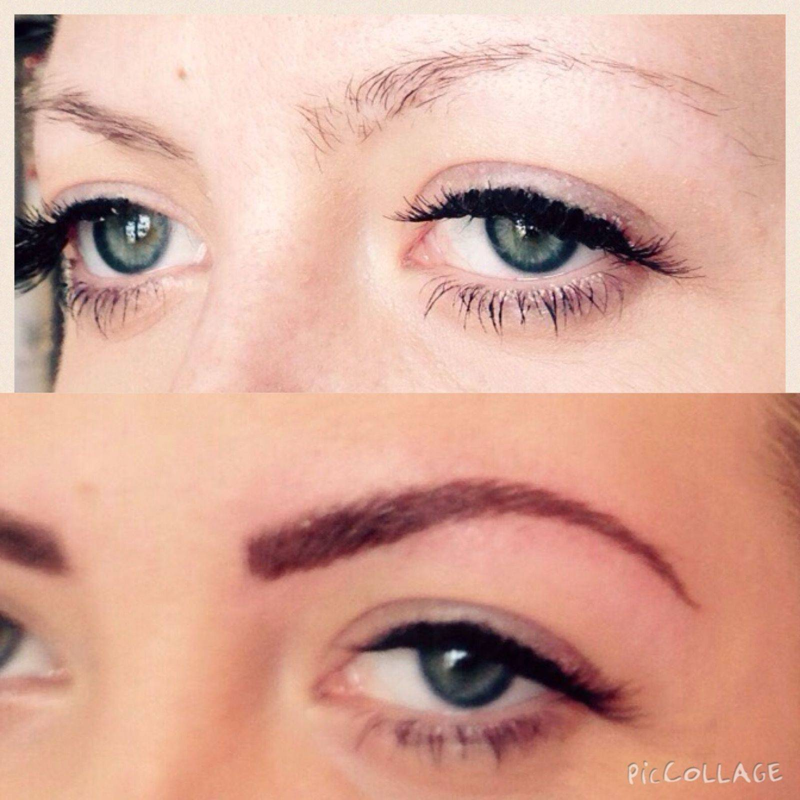 Before and after semi permanent eyebrows