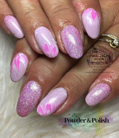 Gel polish mani with 4 extra hand painted nail art