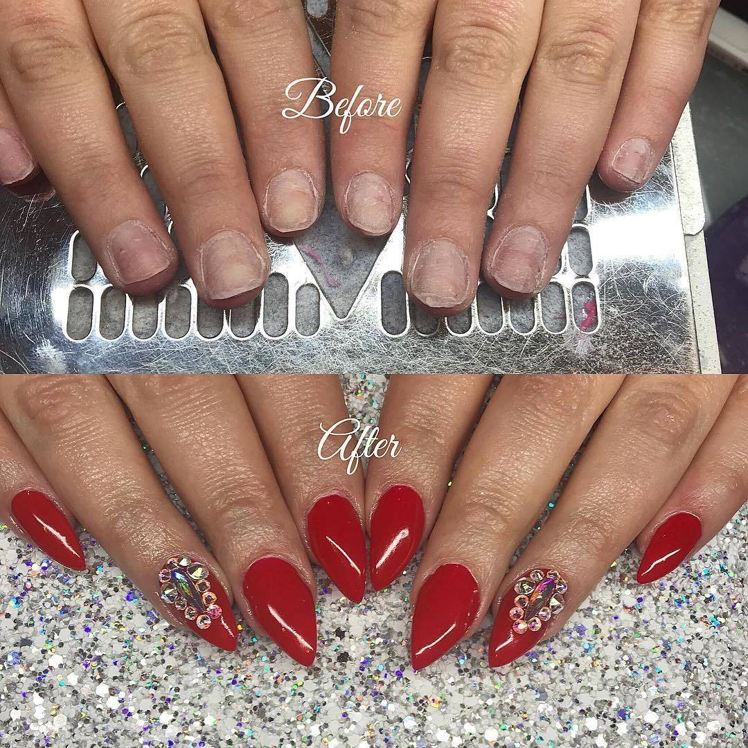 Nette\'Nails - Before and after ❤ Full set sculpted hard gel ...