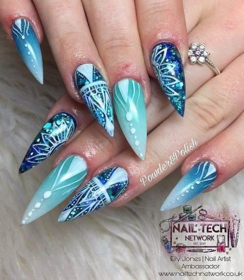 Custom full set with extra hand painted nail art