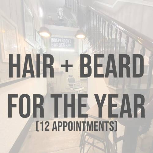 HAIR AND BEARD FOR THE YEAR (12 appointments)