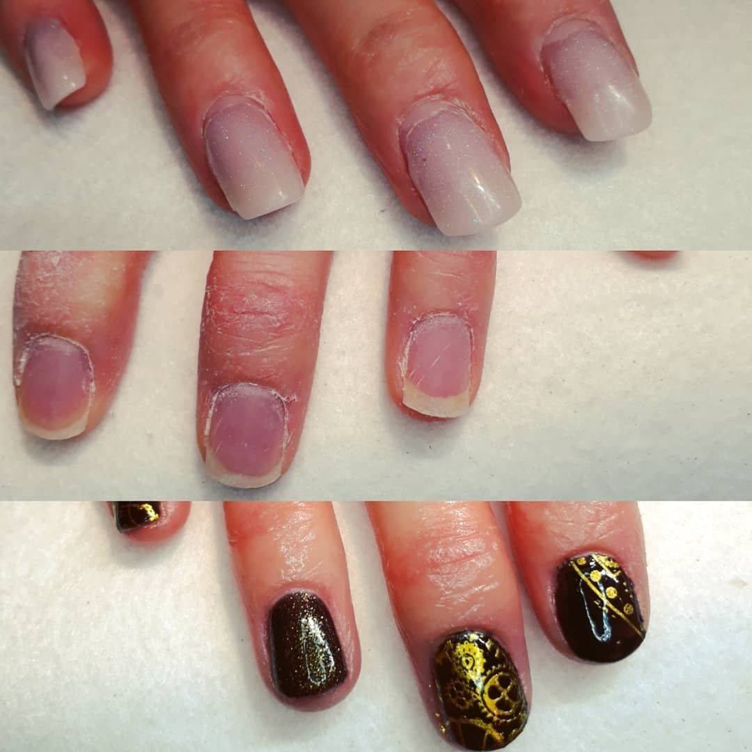 3 week old acrylic, removal & finished with steampunk stamping on #gotime #thecuteicklenailroom
