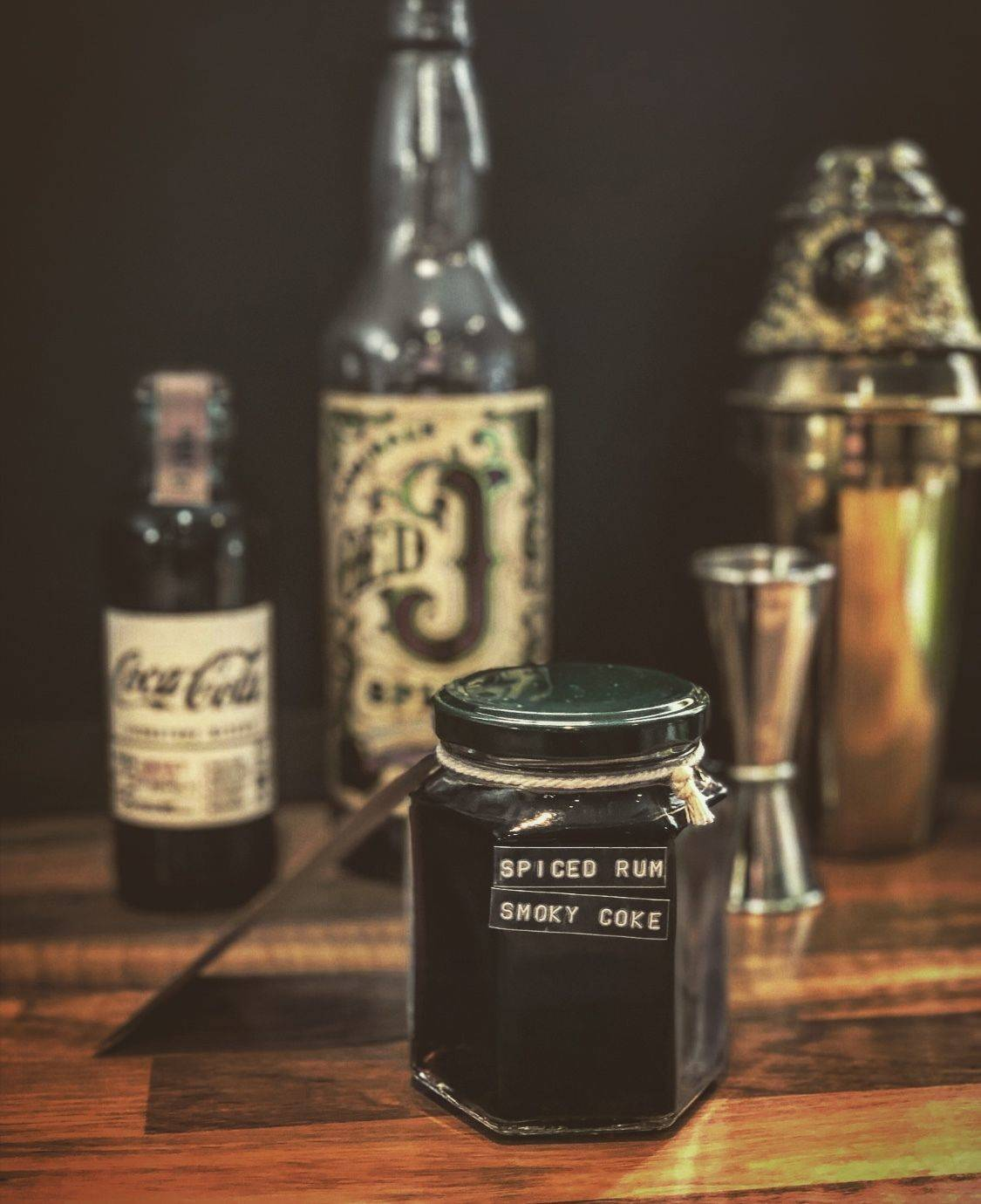 Old 'J' Spiced Rum with Smoky Coke (serves 2)