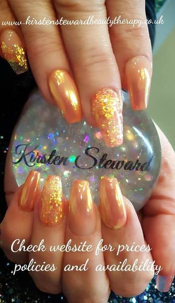 Sheryl Smith's rebalanced  acrylic overlays using CJP Smashed Peach and Unicorn Magic and a mix if various peach/gold glitters.